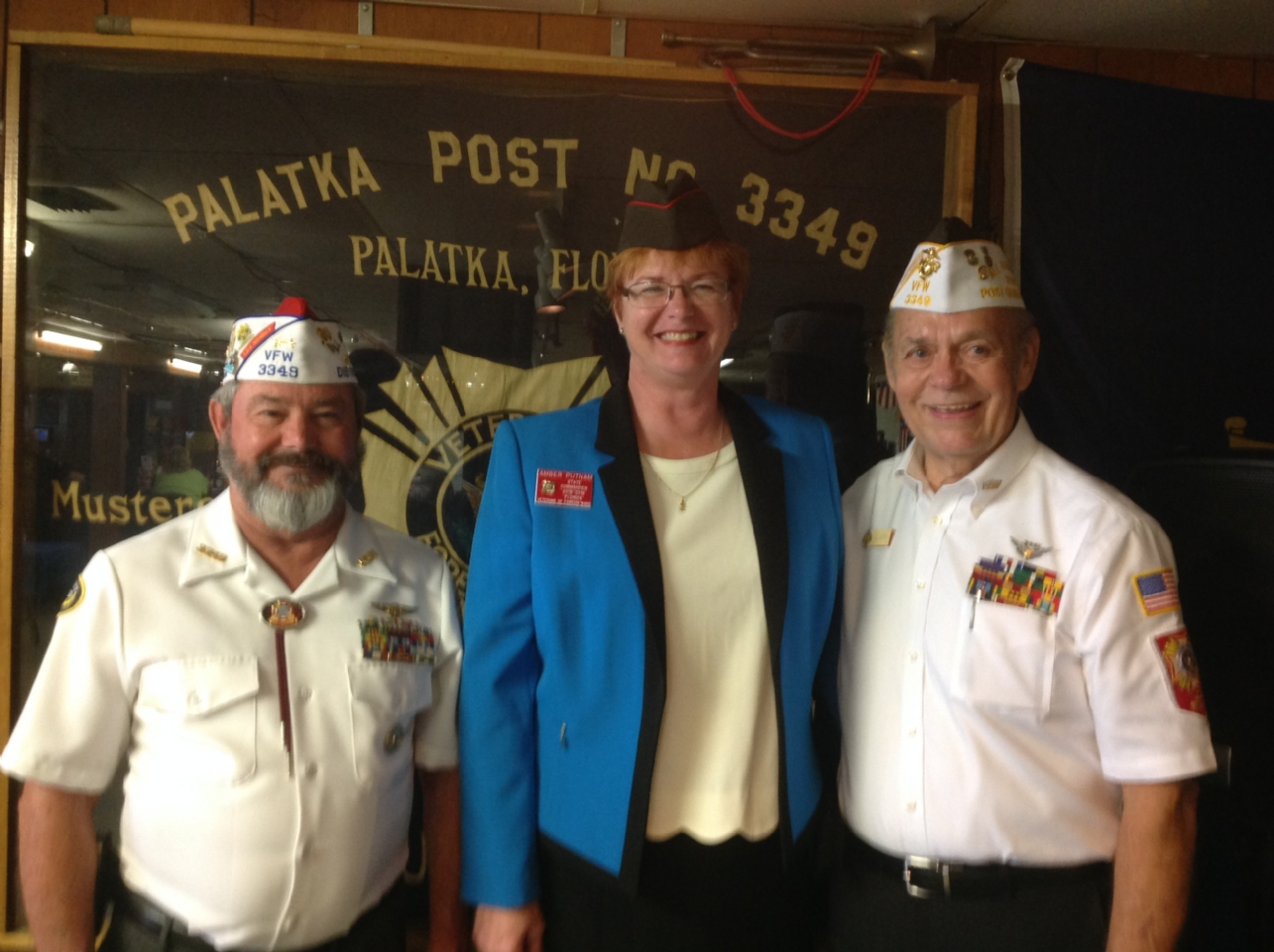 Post Commander Bill Thompson, Past State Commander Amber Putnam, & Post QM Charlie Wellborn